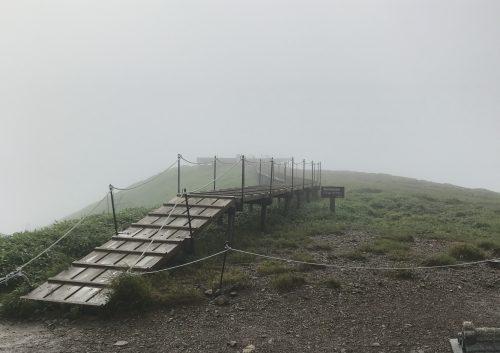 頂上付近の濃い霧